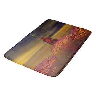 man and world and mountains bath mat
