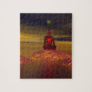 man and world and mountains jigsaw puzzle