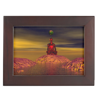 man and world and mountains keepsake box