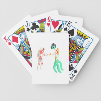 Man Astronaut Shaking Hands With Green Male Alien Bicycle Playing Cards