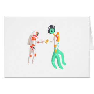 Man Astronaut Shaking Hands With Green Male Alien Card