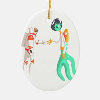 Man Astronaut Shaking Hands With Green Male Alien Ceramic Ornament