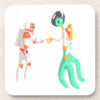Man Astronaut Shaking Hands With Green Male Alien Coaster