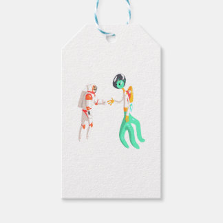 Man Astronaut Shaking Hands With Green Male Alien Gift Tags