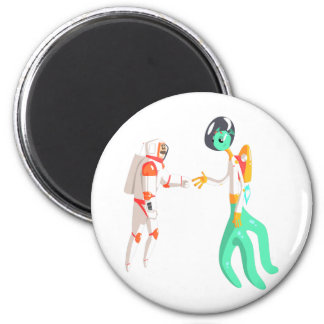 Man Astronaut Shaking Hands With Green Male Alien Magnet