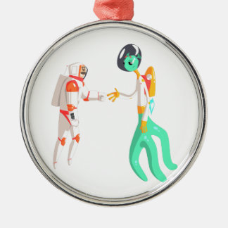 Man Astronaut Shaking Hands With Green Male Alien Metal Ornament