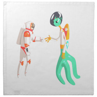 Man Astronaut Shaking Hands With Green Male Alien Napkin
