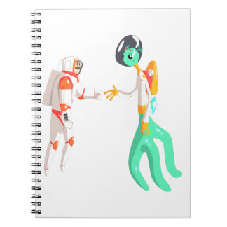 Man Astronaut Shaking Hands With Green Male Alien Notebook