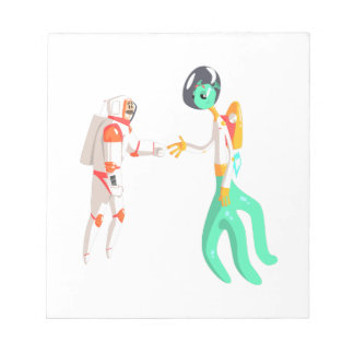 Man Astronaut Shaking Hands With Green Male Alien Notepad