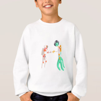 Man Astronaut Shaking Hands With Green Male Alien Sweatshirt