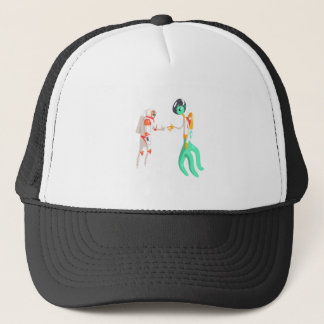 Man Astronaut Shaking Hands With Green Male Alien Trucker Hat