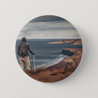 Man at Highs Contemplating The Landscape 6 Cm Round Badge