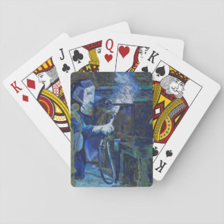 Man at work playing cards