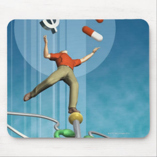 Man balancing drugs and dollar sign mouse pad