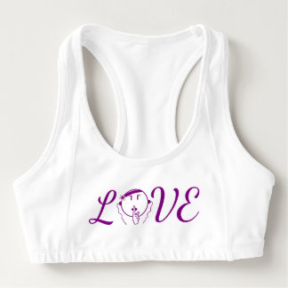 Man Be Quiet Sports Bra LOVE in purple – Women's