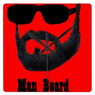 Man Beard Square Clock by da'vy