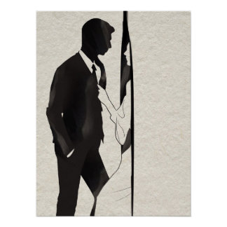 Man Being Pulled Into Room Illustration Poster