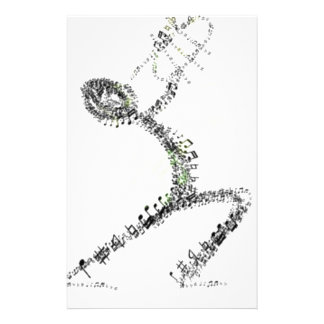 Man blowing Trumpet designed using musical notes Stationery Design