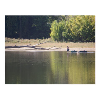 Man, Canoe, Dog, and Driftwood Postcard