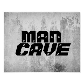 man cave quote poster bold text on gray