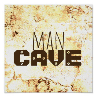 man cave quote poster bold text on stone pattern