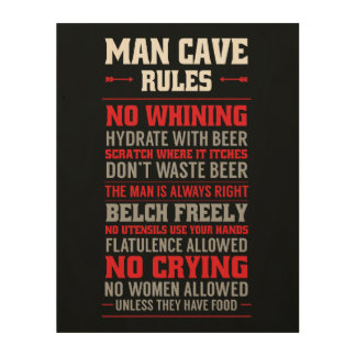 Man Cave Rules Wood Canvas