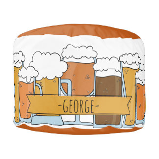 Man Cave Series: Beer Selections Round Pouffe