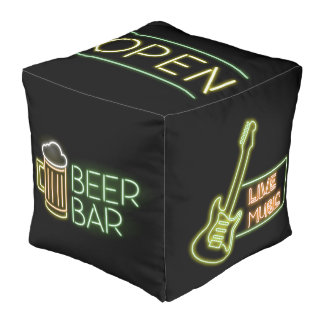 Man Cave Series: Neon Signs Cube Pouffe