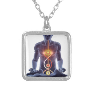 man chakras silver plated necklace