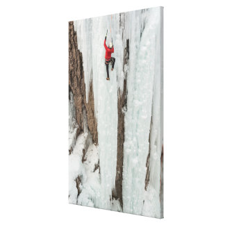 Man climbing ice, Colorado Canvas Print