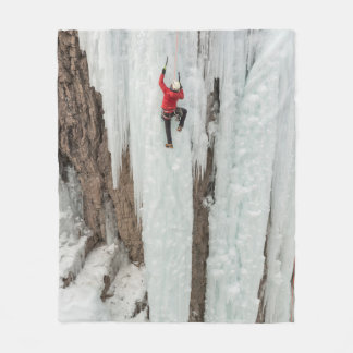 Man climbing ice, Colorado Fleece Blanket