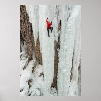 Man climbing ice, Colorado Poster