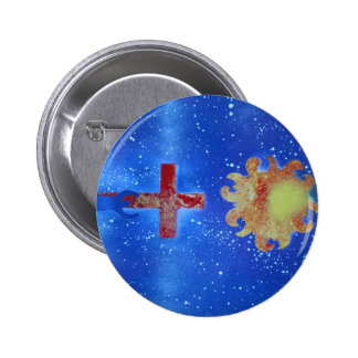 man cross sun blue spraypaint pinback button