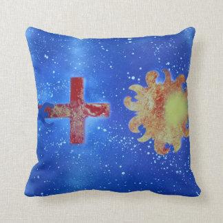 man cross sun blue spraypaint throw cushion