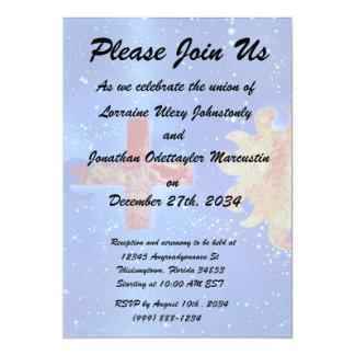 man cross sun blue spraypaint personalized invite