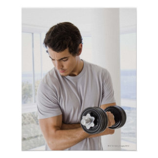 Man doing arm curls with weights poster