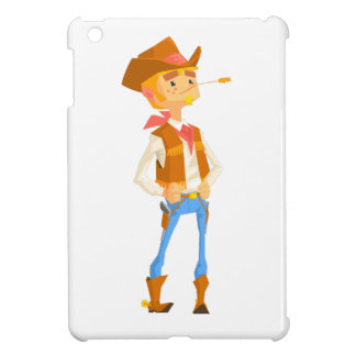 Man Dressed As Cowboy With A Straw In His Mouth Cover For The iPad Mini
