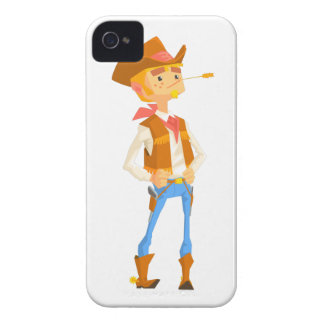 Man Dressed As Cowboy With A Straw In His Mouth iPhone 4 Case-Mate Case