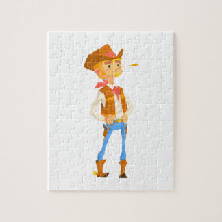 Man Dressed As Cowboy With A Straw In His Mouth Jigsaw Puzzle