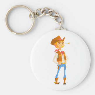 Man Dressed As Cowboy With A Straw In His Mouth Key Ring