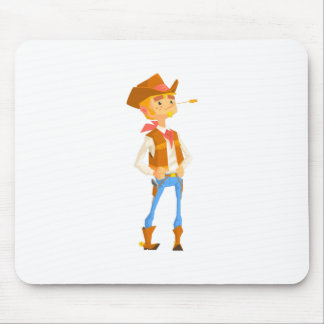 Man Dressed As Cowboy With A Straw In His Mouth Mouse Pad
