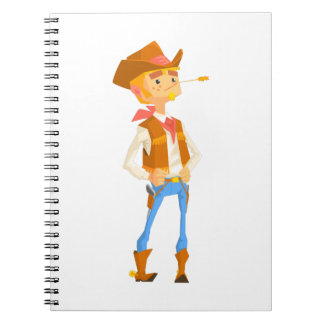 Man Dressed As Cowboy With A Straw In His Mouth Notebook