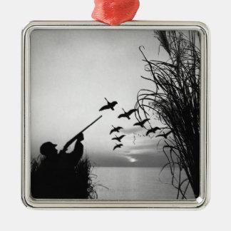 Man Duck Hunting Metal Ornament