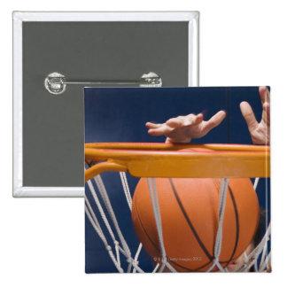 Man dunking basketball 15 cm square badge