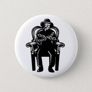 Man Gagged Chained to Grand Arm Chair Woodcut 6 Cm Round Badge
