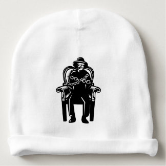 Man Gagged Chained to Grand Arm Chair Woodcut Baby Beanie