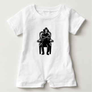 Man Gagged Chained to Grand Arm Chair Woodcut Baby Bodysuit