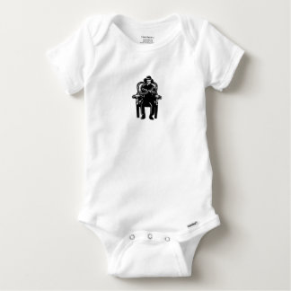 Man Gagged Chained to Grand Arm Chair Woodcut Baby Onesie