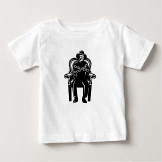 Man Gagged Chained to Grand Arm Chair Woodcut Baby T-Shirt