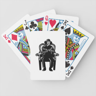 Man Gagged Chained to Grand Arm Chair Woodcut Bicycle Playing Cards